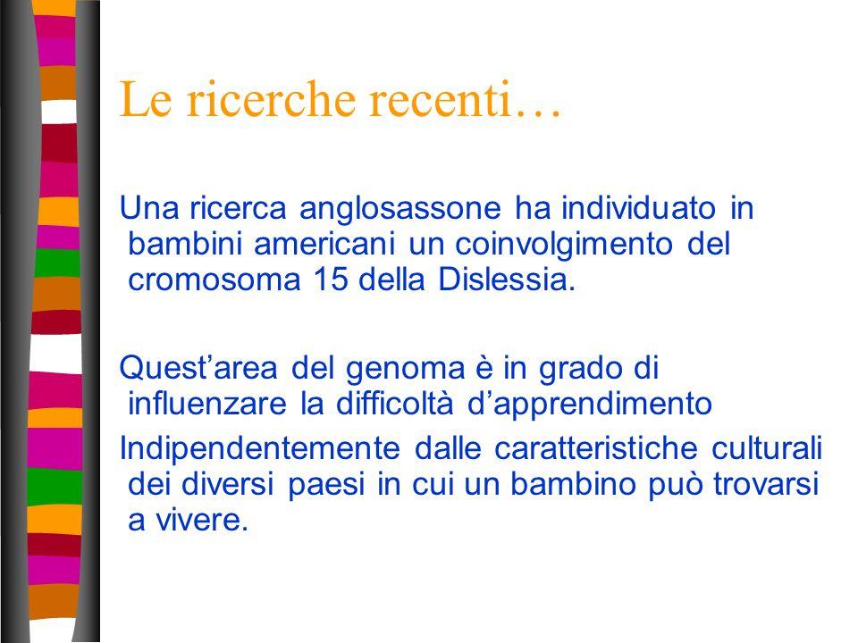 Le ricerche recenti… Una ricerca anglosassone ha individuato in bambini americani un coinvolgimento del cromosoma 15 della Dislessia.