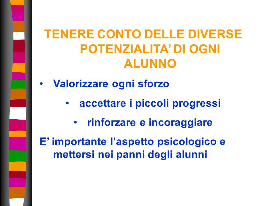 TENERE CONTO DELLE DIVERSE POTENZIALITA' DI OGNI ALUNNO