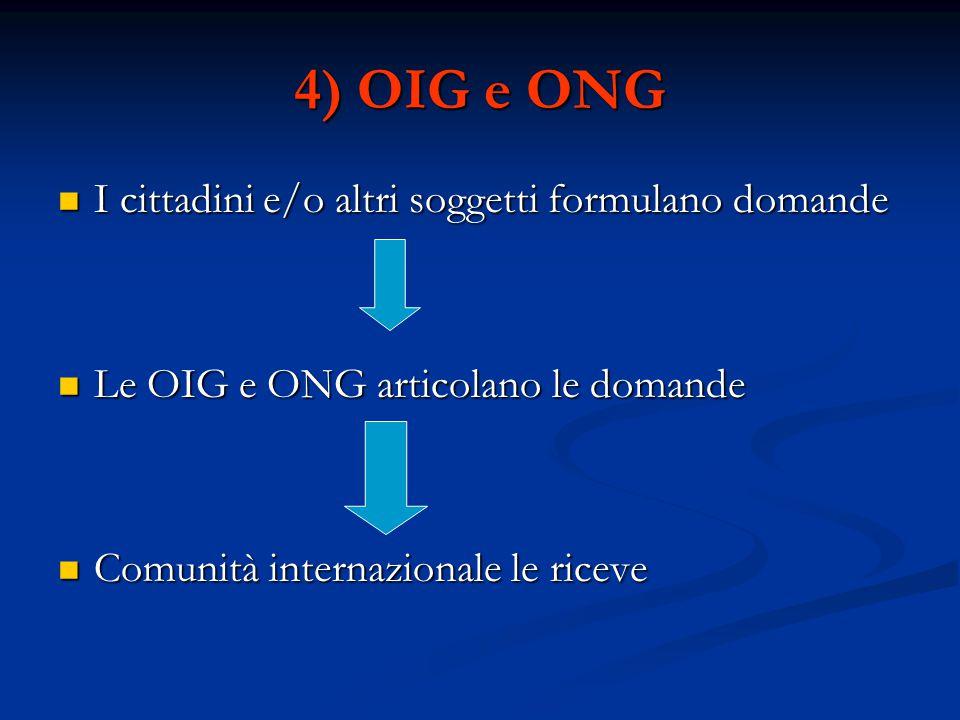4) OIG e ONG I cittadini e/o altri soggetti formulano domande
