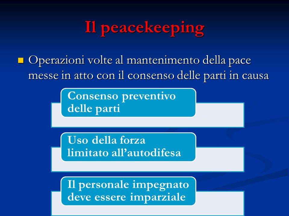 Il peacekeeping Operazioni volte al mantenimento della pace messe in atto con il consenso delle parti in causa.