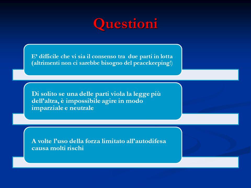 Questioni E' difficile che vi sia il consenso tra due parti in lotta (altrimenti non ci sarebbe bisogno del peacekeeping!)