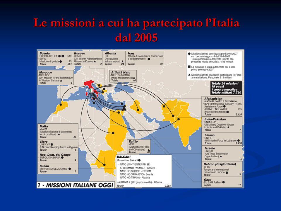 Le missioni a cui ha partecipato l'Italia dal 2005