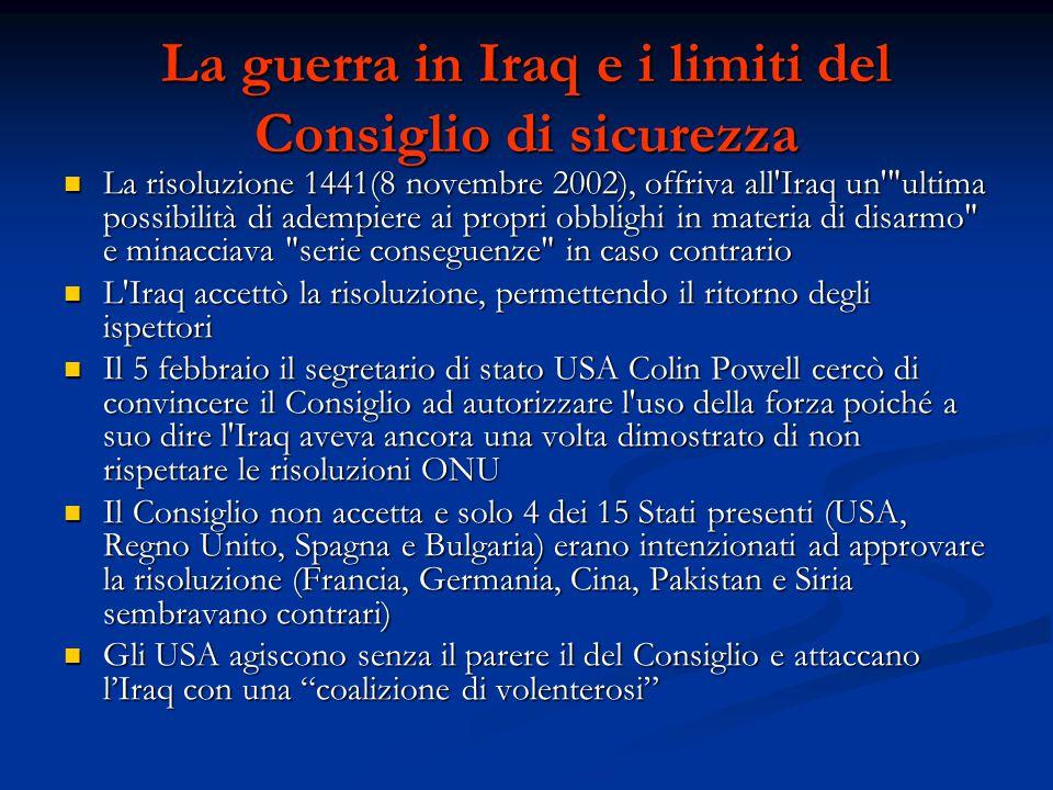 La guerra in Iraq e i limiti del Consiglio di sicurezza
