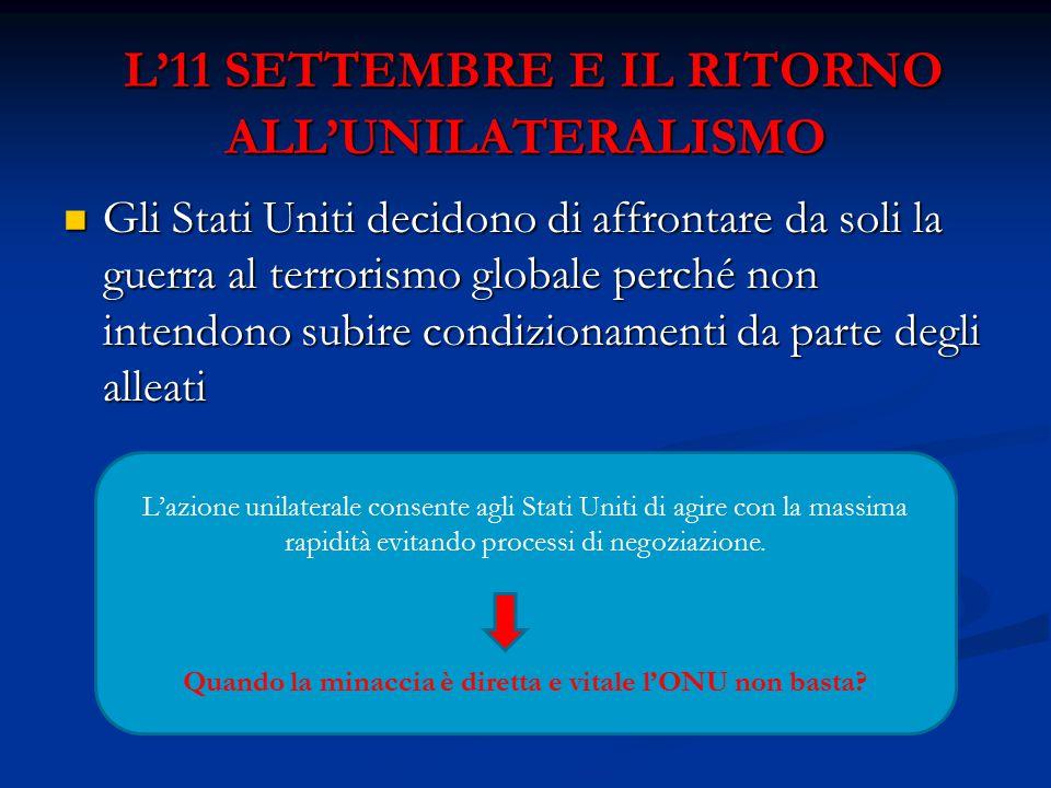 L'11 SETTEMBRE E IL RITORNO ALL'UNILATERALISMO