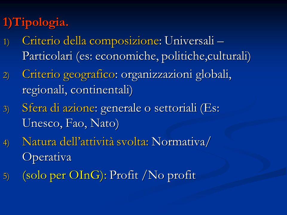1)Tipologia. Criterio della composizione: Universali –Particolari (es: economiche, politiche,culturali)