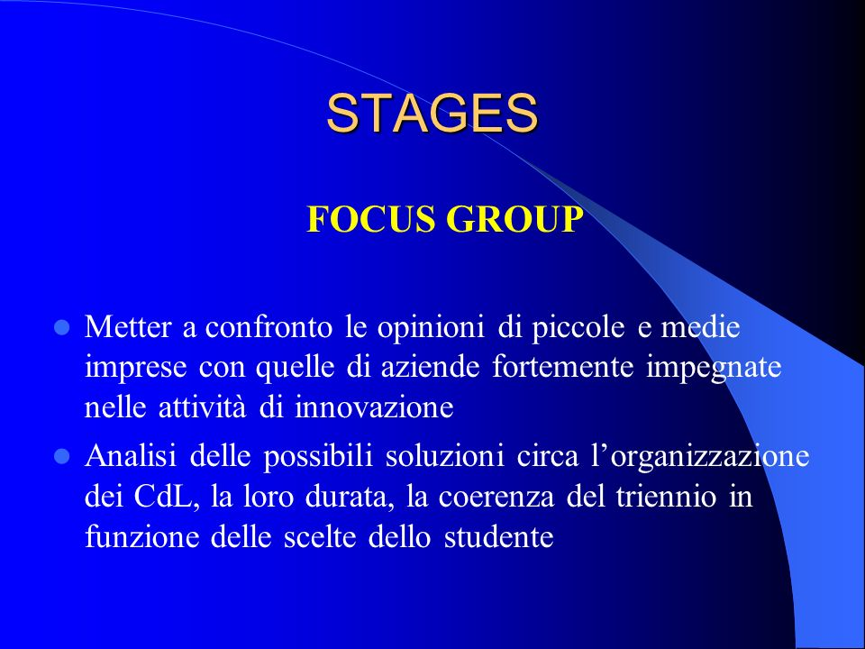 STAGES FOCUS GROUP.