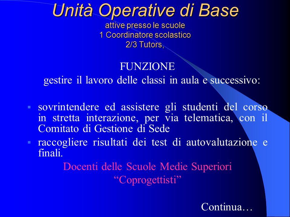 Unità Operative di Base attive presso le scuole 1 Coordinatore scolastico 2/3 Tutors,