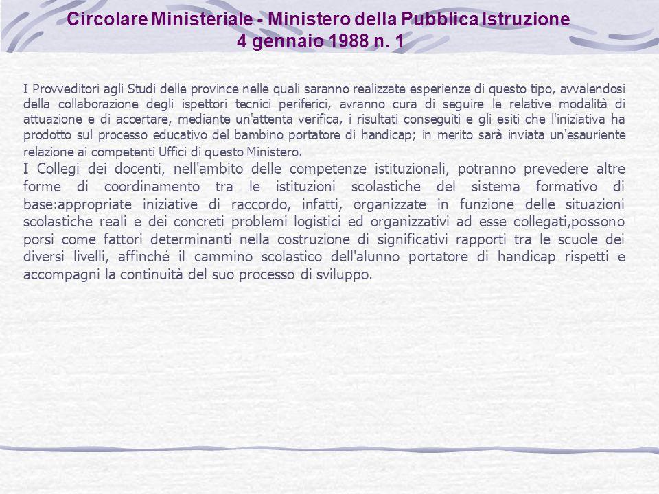 Circolare Ministeriale - Ministero della Pubblica Istruzione 4 gennaio 1988 n. 1