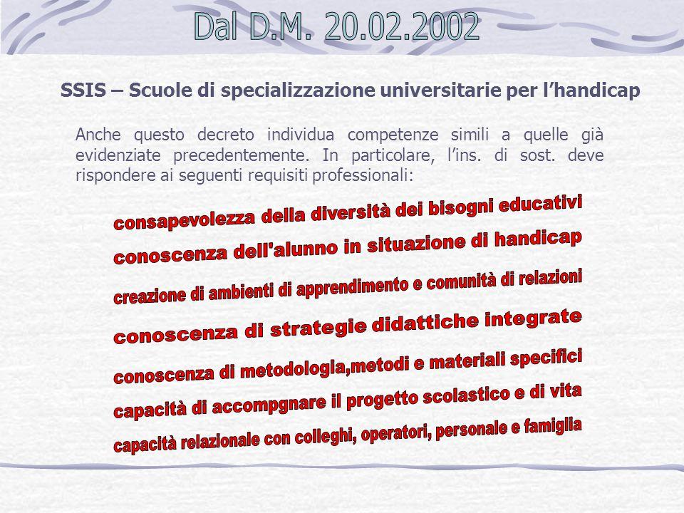 SSIS – Scuole di specializzazione universitarie per l'handicap