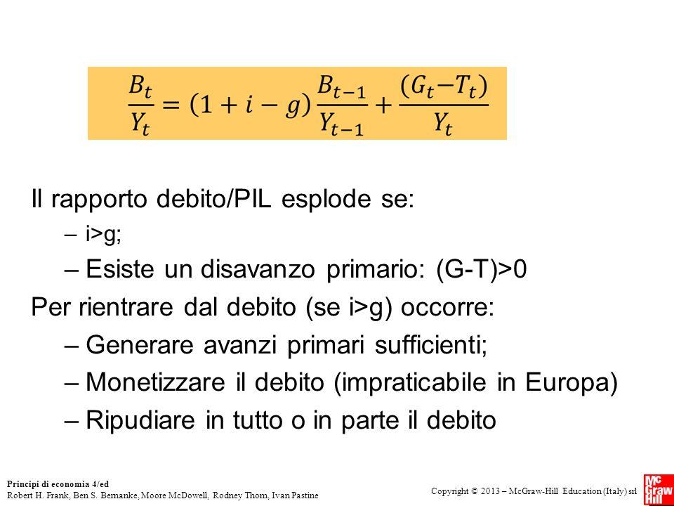 Il rapporto debito/PIL esplode se: