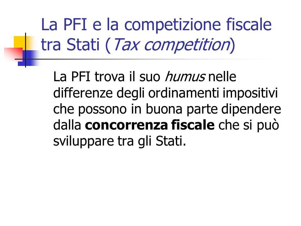 La PFI e la competizione fiscale tra Stati (Tax competition)