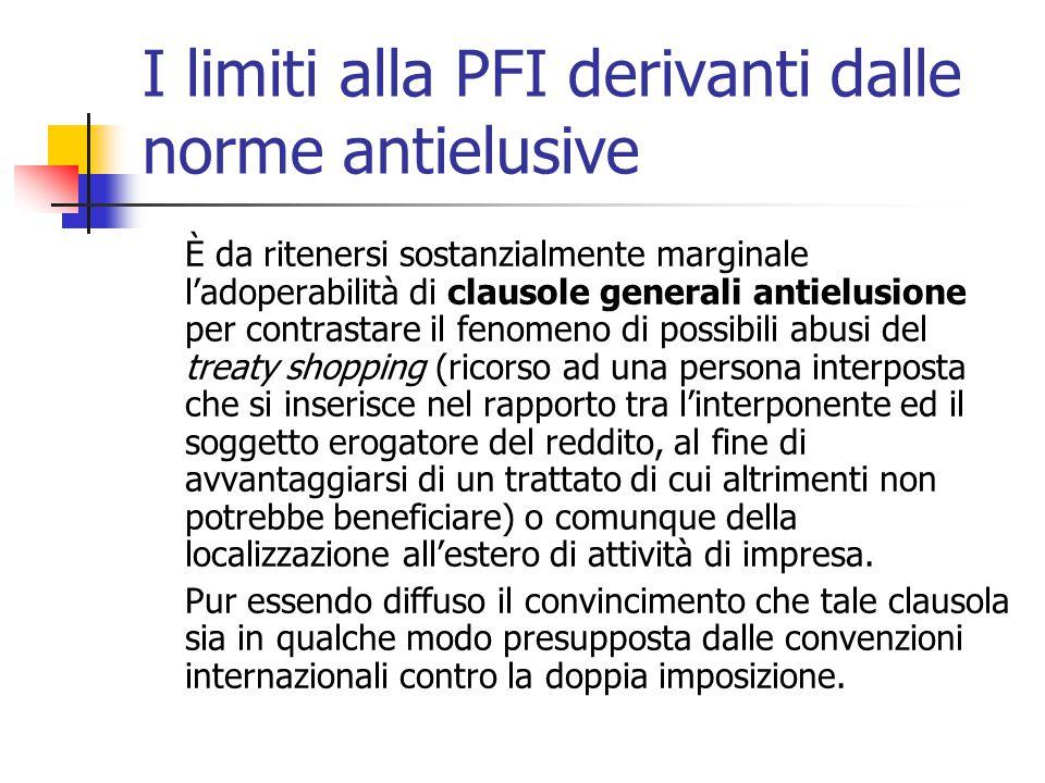 I limiti alla PFI derivanti dalle norme antielusive