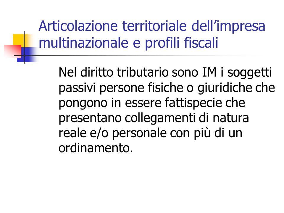 Articolazione territoriale dell'impresa multinazionale e profili fiscali