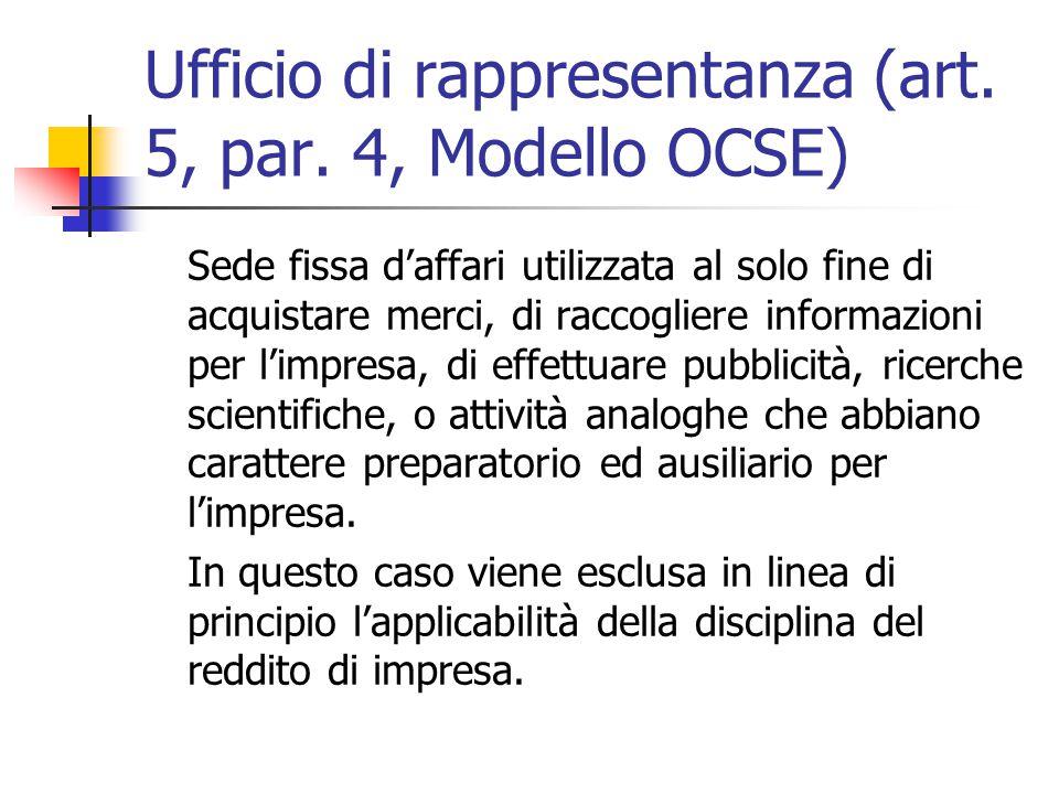 Ufficio di rappresentanza (art. 5, par. 4, Modello OCSE)