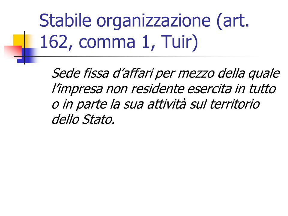 Stabile organizzazione (art. 162, comma 1, Tuir)