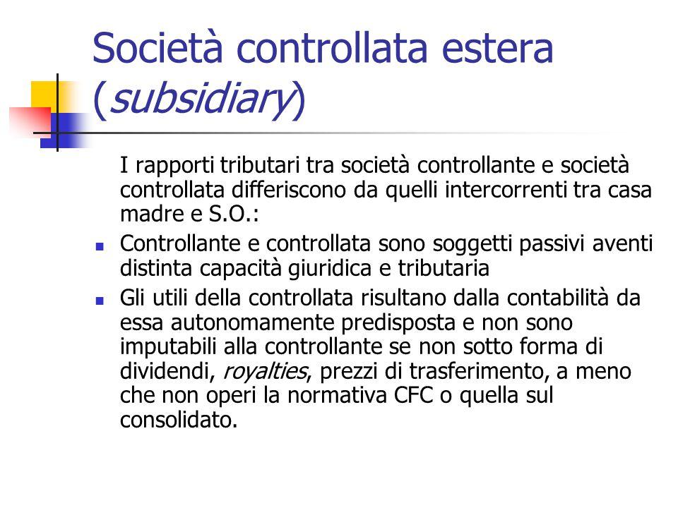 Società controllata estera (subsidiary)