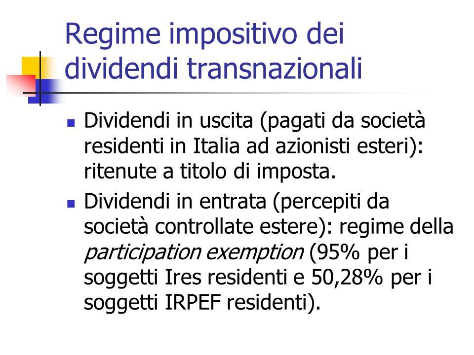Regime impositivo dei dividendi transnazionali