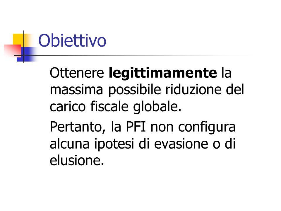 Obiettivo Ottenere legittimamente la massima possibile riduzione del carico fiscale globale.