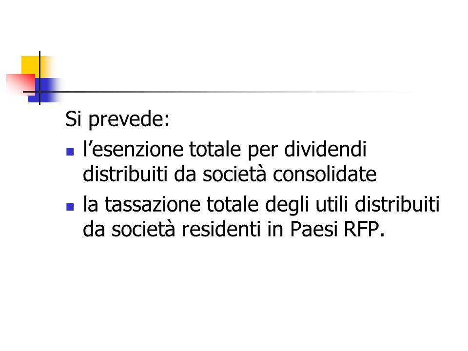 Si prevede: l'esenzione totale per dividendi distribuiti da società consolidate.
