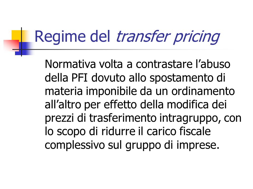 Regime del transfer pricing