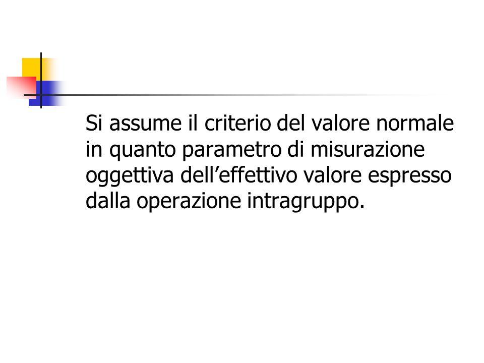 Si assume il criterio del valore normale in quanto parametro di misurazione oggettiva dell'effettivo valore espresso dalla operazione intragruppo.