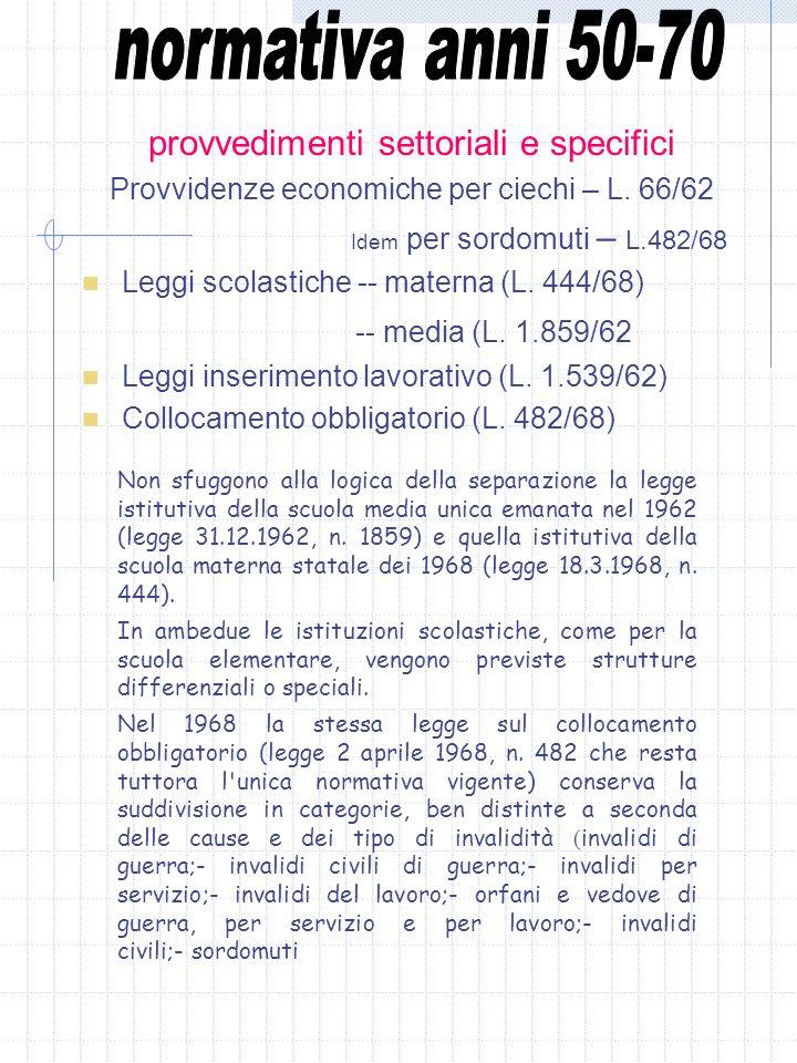 normativa anni 50-70 provvedimenti settoriali e specifici