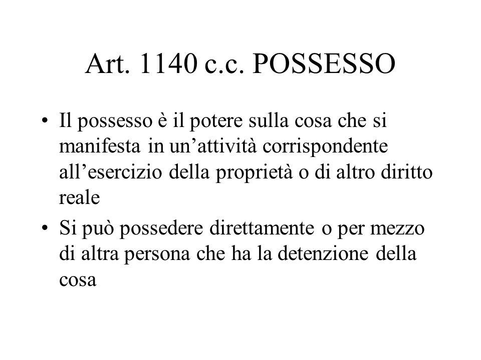 Art. 1140 c.c. POSSESSO