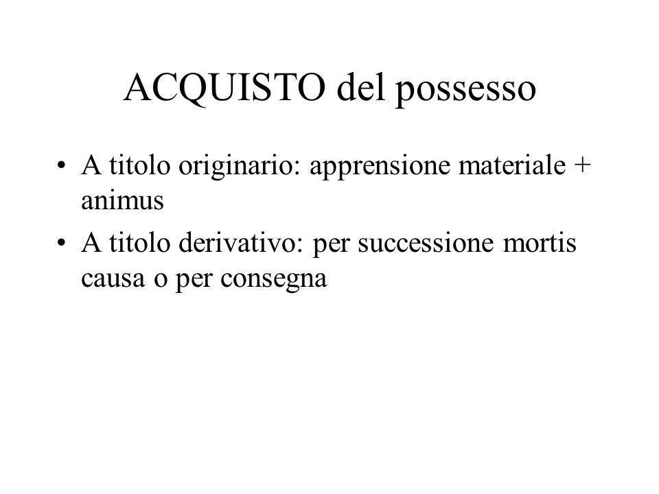 ACQUISTO del possesso A titolo originario: apprensione materiale + animus.