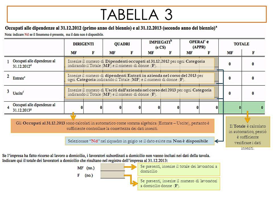 tabella 3 Inserire il numero di Dipendenti occupati al 31.12.2012 per ogni Categoria indicando il Totale (MF) e il numero di donne (F).