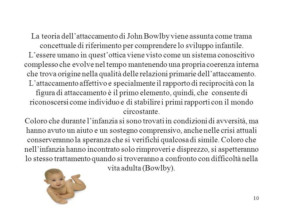 La teoria dell'attaccamento di John Bowlby viene assunta come trama concettuale di riferimento per comprendere lo sviluppo infantile.
