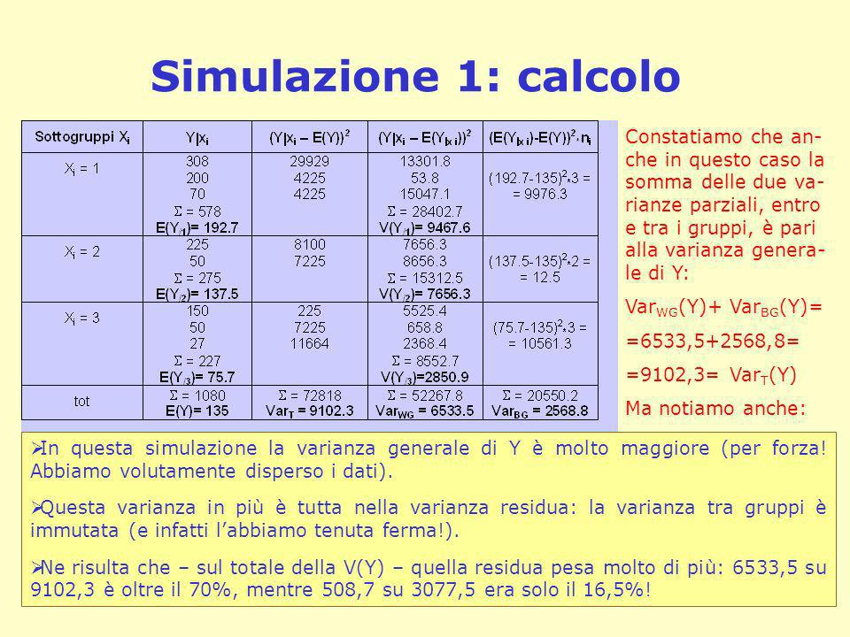 Simulazione 1: calcolo