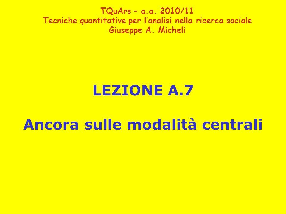 LEZIONE A.7 Ancora sulle modalità centrali