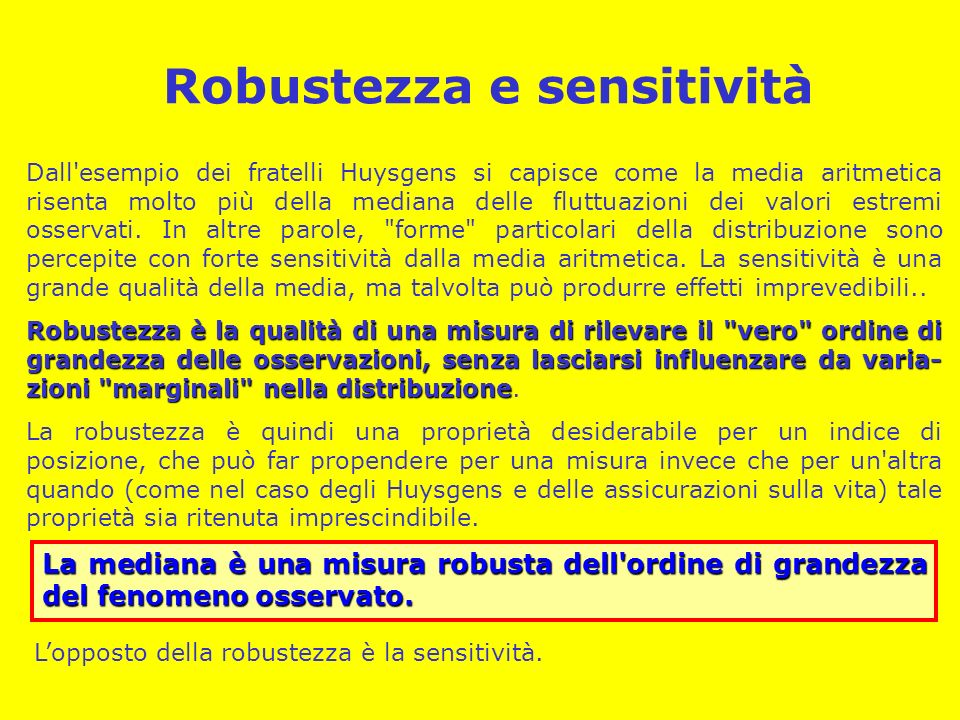 Robustezza e sensitività