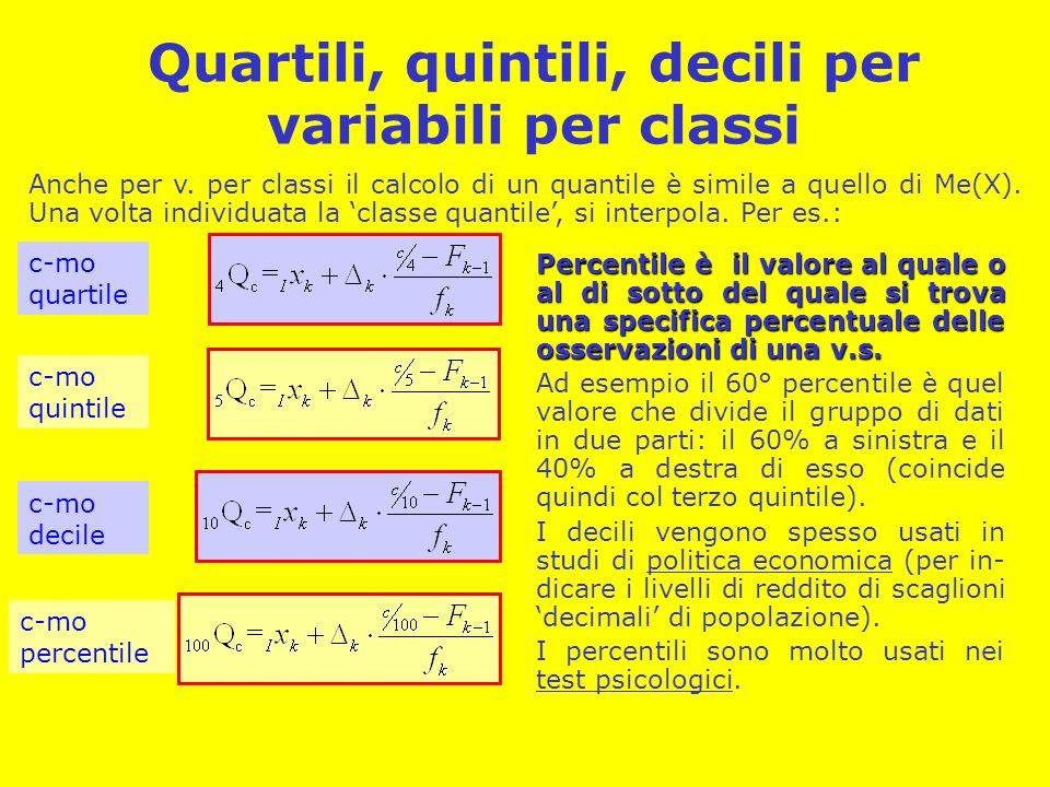 Quartili, quintili, decili per variabili per classi