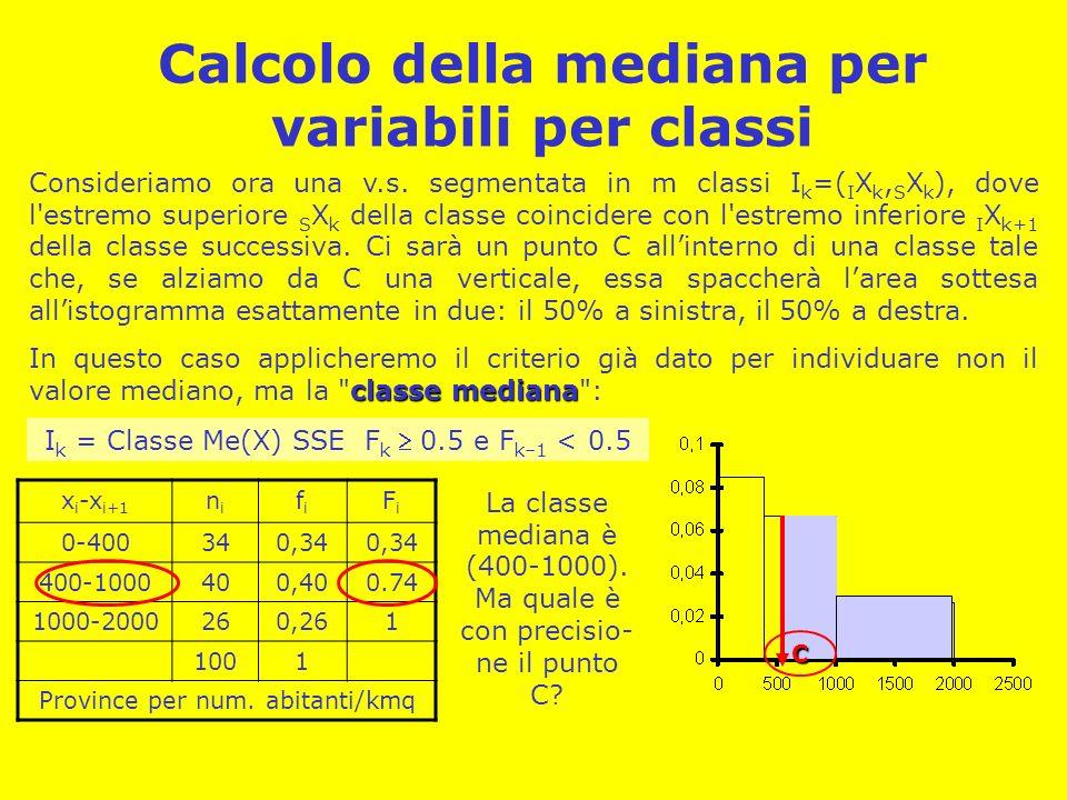 Calcolo della mediana per variabili per classi