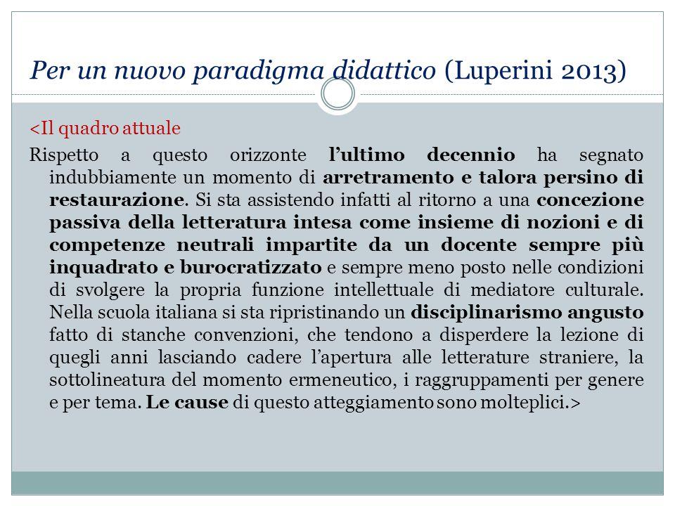 Per un nuovo paradigma didattico (Luperini 2013)