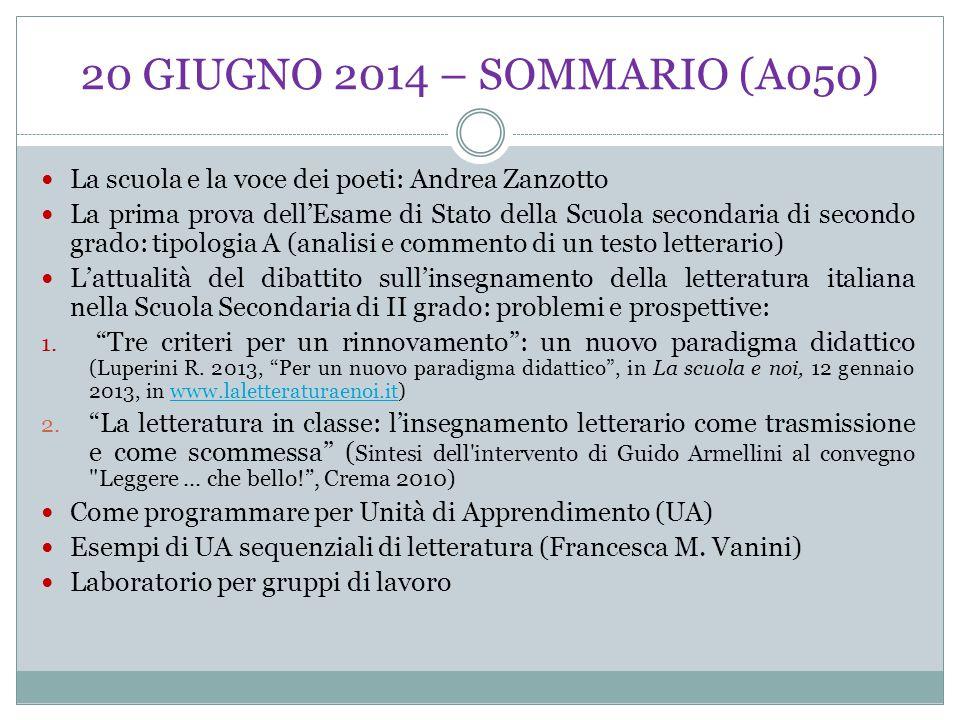 20 GIUGNO 2014 – SOMMARIO (A050) La scuola e la voce dei poeti: Andrea Zanzotto.