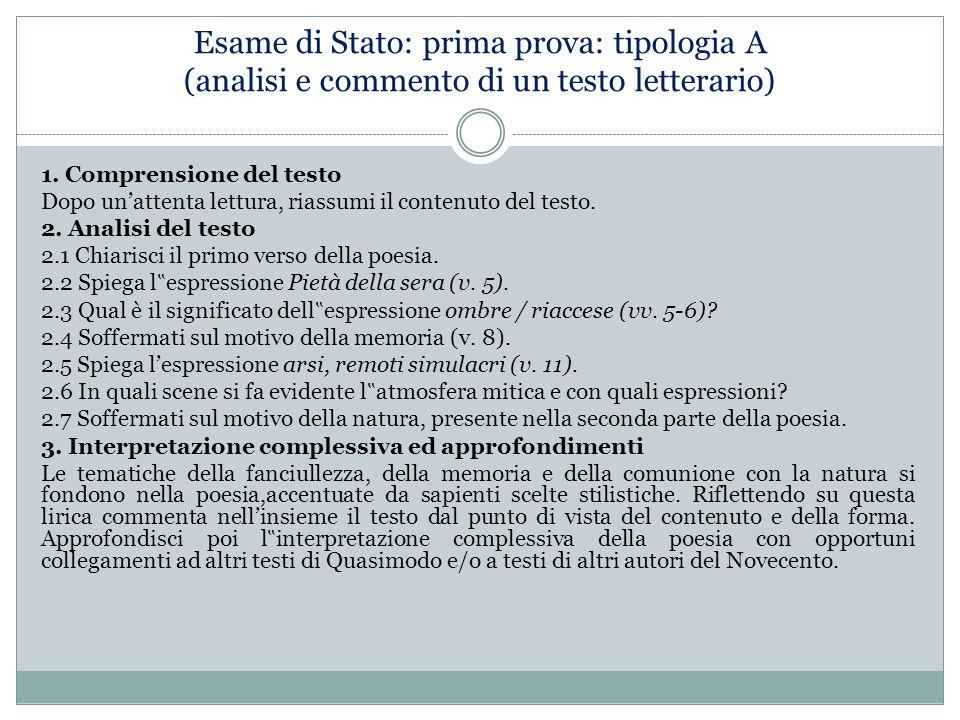 Esame di Stato: prima prova: tipologia A (analisi e commento di un testo letterario)