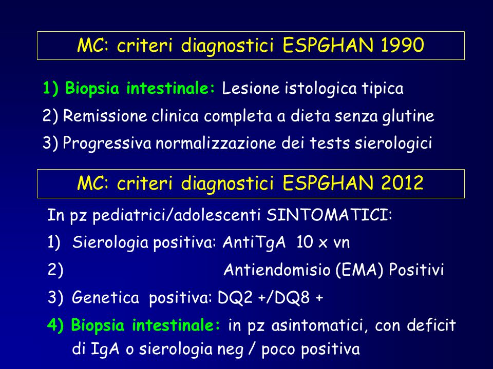 MC: criteri diagnostici ESPGHAN 1990