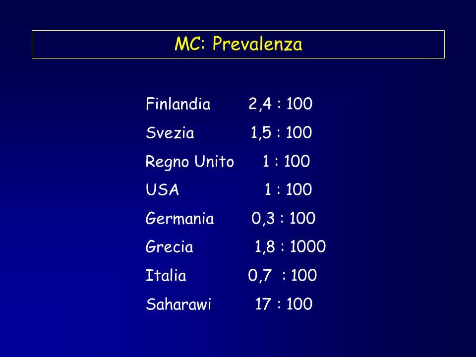 MC: Prevalenza Finlandia 2,4 : 100 Svezia 1,5 : 100
