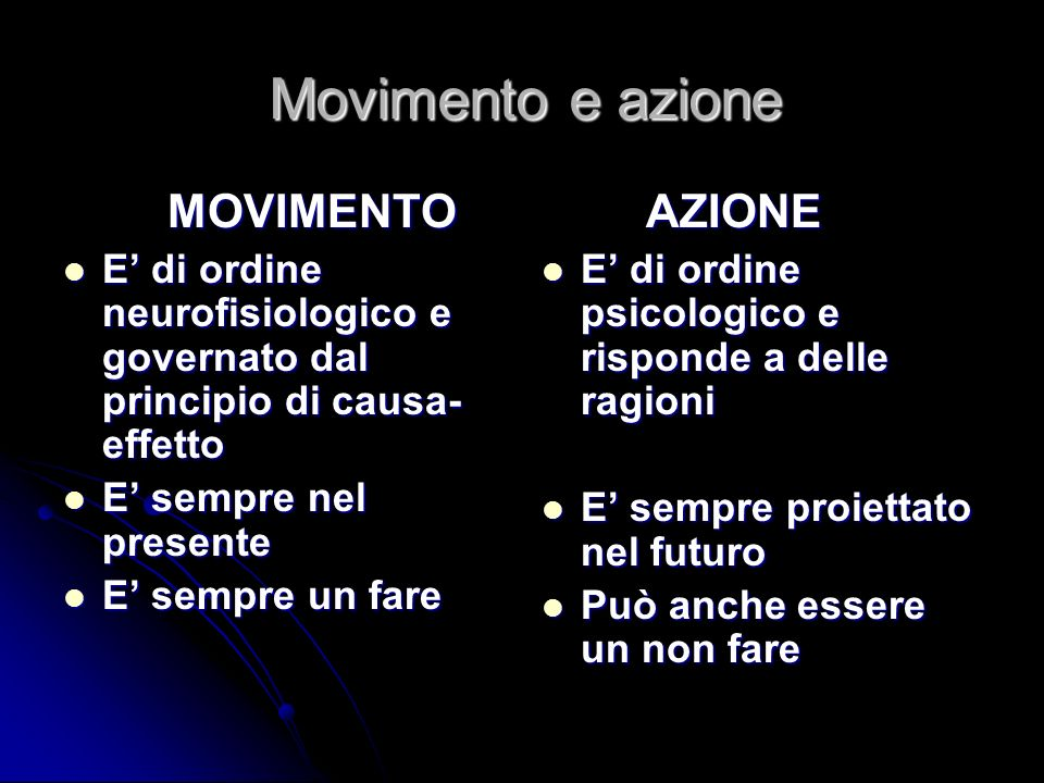 Movimento e azione AZIONE MOVIMENTO
