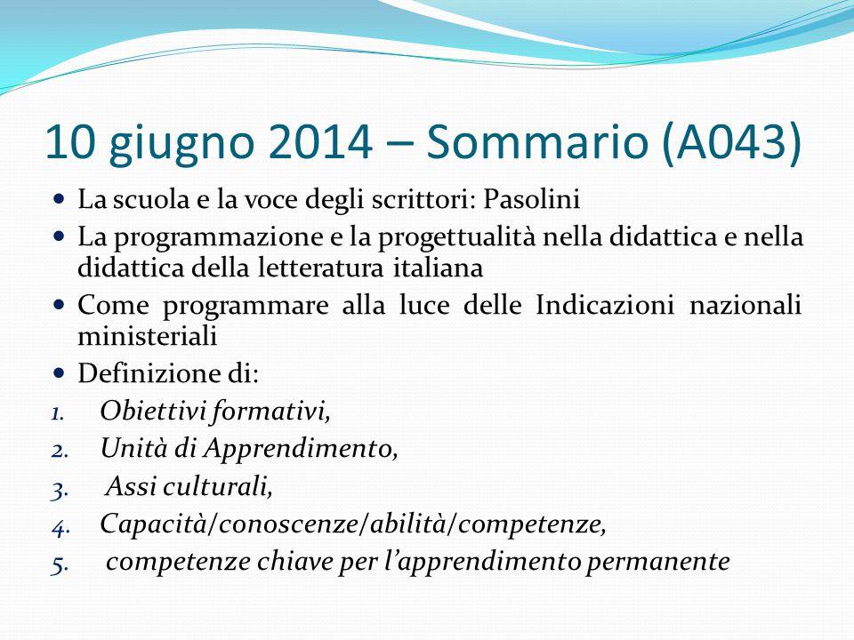 10 giugno 2014 – Sommario (A043) La scuola e la voce degli scrittori: Pasolini.