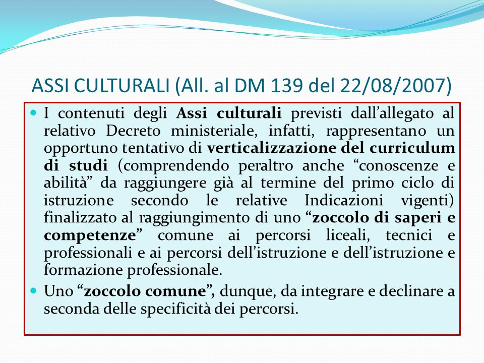 ASSI CULTURALI (All. al DM 139 del 22/08/2007)