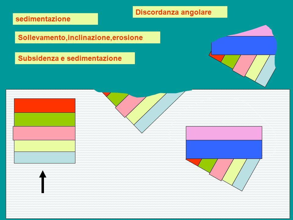 Discordanza angolare sedimentazione Sollevamento,inclinazione,erosione Subsidenza e sedimentazione