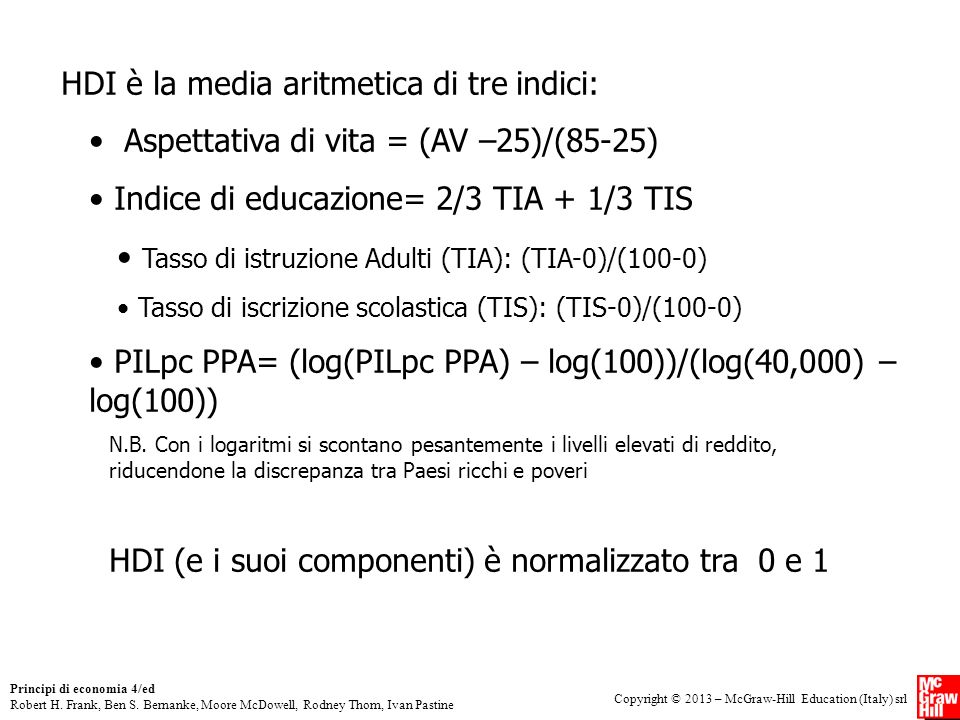 HDI è la media aritmetica di tre indici: