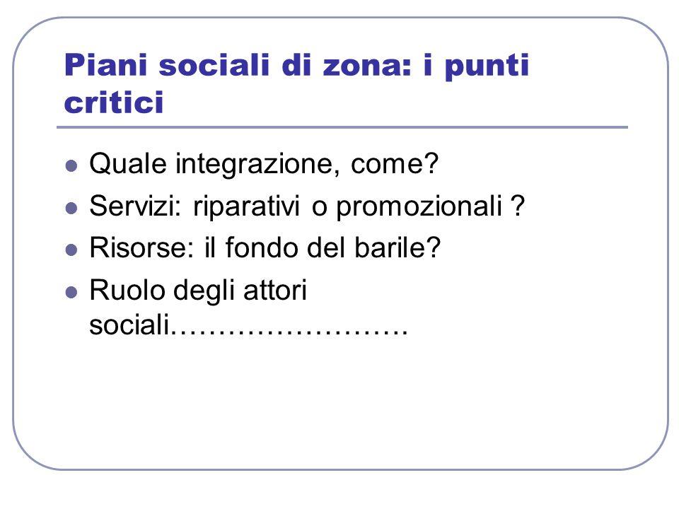 Piani sociali di zona: i punti critici