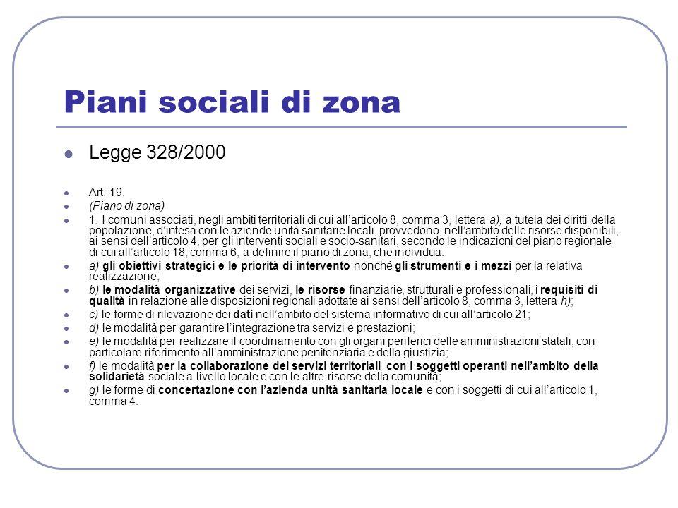 Piani sociali di zona Legge 328/2000 Art. 19. (Piano di zona)