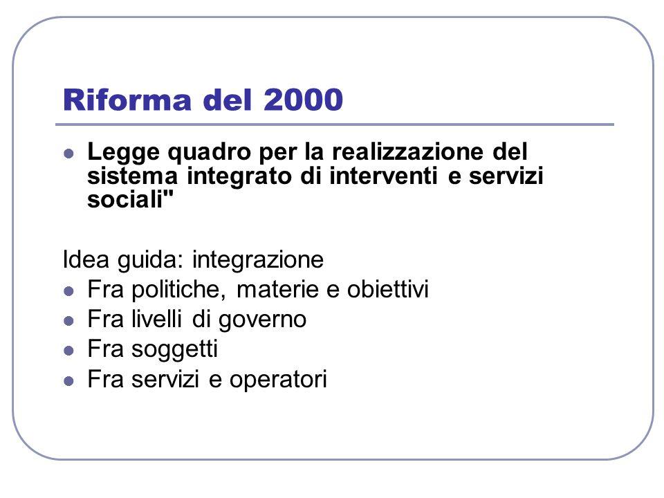Riforma del 2000 Legge quadro per la realizzazione del sistema integrato di interventi e servizi sociali