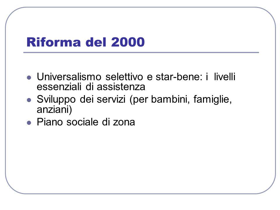 Riforma del 2000 Universalismo selettivo e star-bene: i livelli essenziali di assistenza. Sviluppo dei servizi (per bambini, famiglie, anziani)