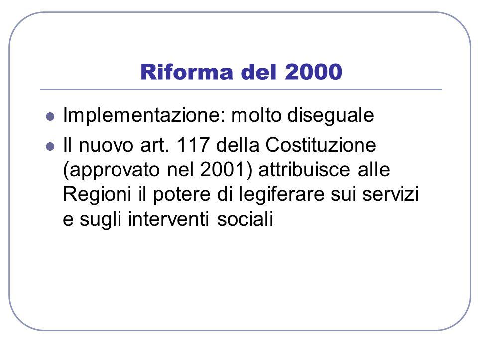 Riforma del 2000 Implementazione: molto diseguale